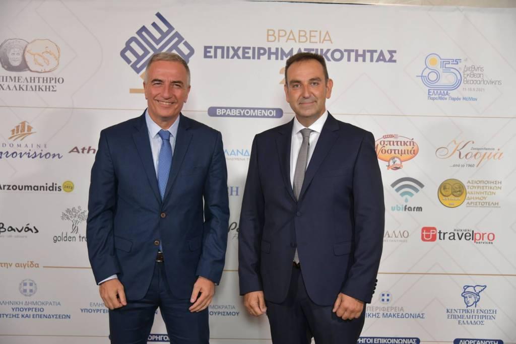 Ο υφυπουργός Μακεδονίας-Θράκης Σταύρος Καλαφάτης με τον πρόεδρο του επιμελητηρίου Χαλκιδικής Γιάννη Κουφίδη